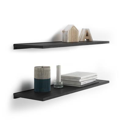 Mobili Fiver Paire d'étagères Evolution 60x15 cm, Frêne Noir, avec support en aluminium noir