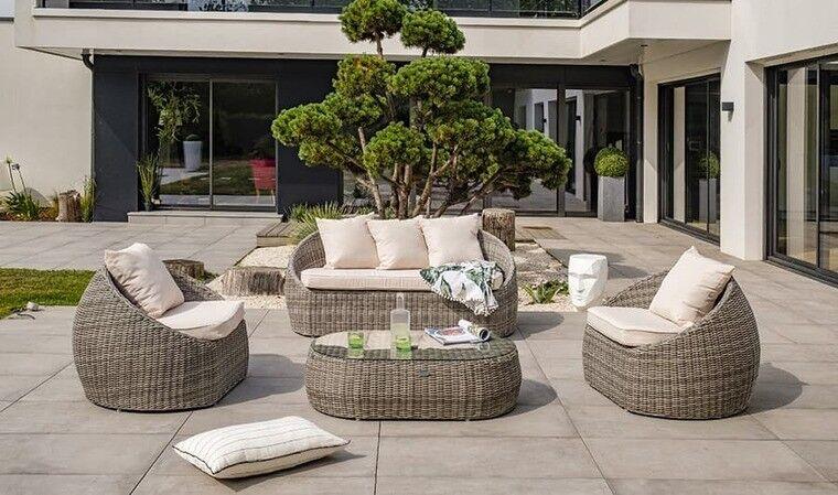 Garden Park Salon de jardin rond 5 places résine tressée grise - Isa