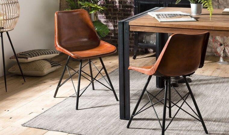 House and Garden Lot de 2 chaises en cuir style industriel - Berlioz