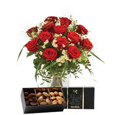 Interflora Rouge idylle et ses amandes au chocolat
