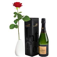 Interflora Rose rouge et son champagne Devaux