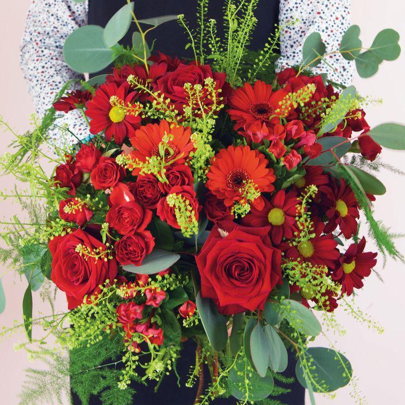Interflora Bouquet du fleuriste dans les tons de rouges