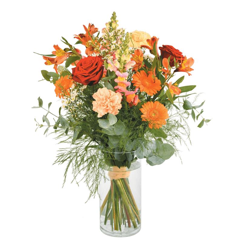 Interflora Garden Party : Bouquet aux tons orange, rouge et crème