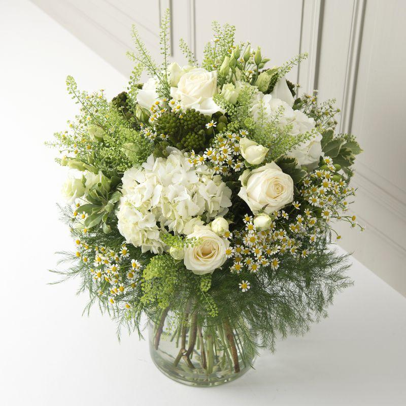 Interflora Nature et sens : rose blanche et lisianthus blanc