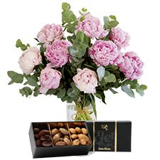 Interflora Nos belles pivoines et leurs amandes au chocolat