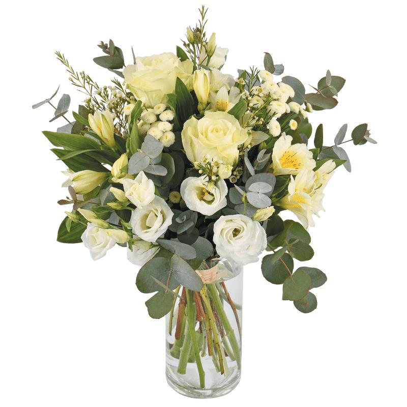 Interflora Paradis blanc : bouquet rond de fleurs variées tons blanc