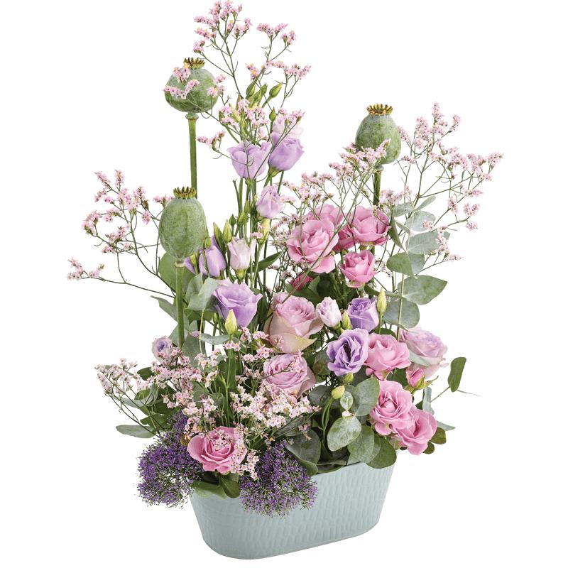 Interflora Sentimental'O : assemblage de fleurs mauve et parme