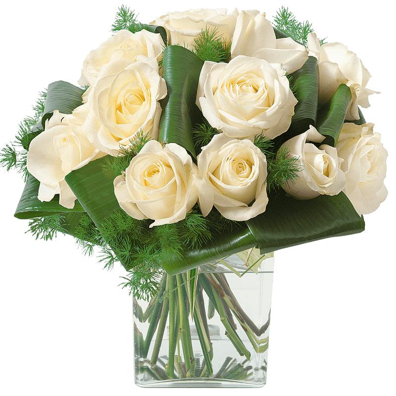 Interflora Fleurs Deuil - Bouquet rond de roses blanches - Livraison Interflora