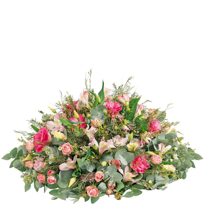 Interflora Fleurs Deuil Interflora - Coussin rond de fleurs roses - Livraison Enterrement