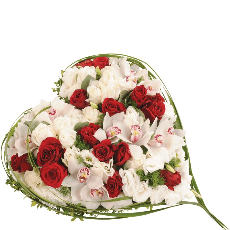 Interflora Coeur funéraire tons rouge et blanc - Fleurs Enterrement - Collection Deuil Interflora