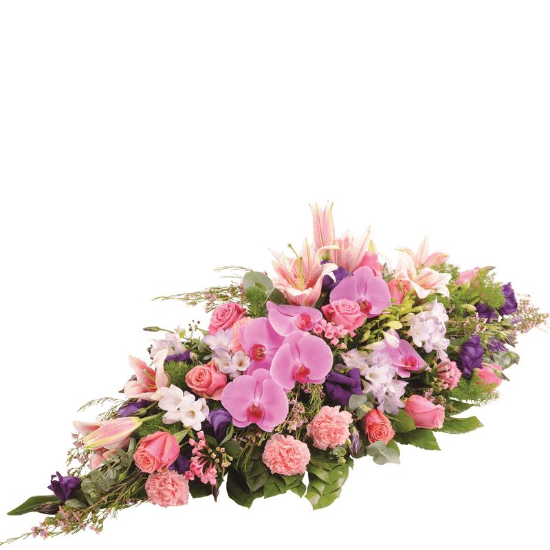 Interflora Deuil - Raquette de fleurs roses et parme