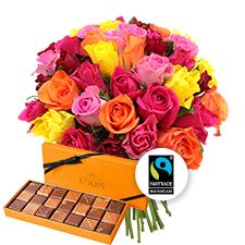 Interflora Brassée de 40 roses multicolores et ses chocolats