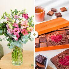 Interflora Brassée de lisianthus et ses chocolats Bonne Fête Maman