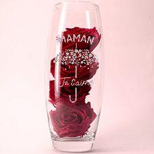 Interflora Roses rouges éternelles et leur vase gravé personnalisable
