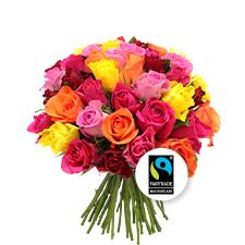 Interflora Brassée de 40 roses multicolores Max Havelaar