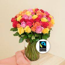 Interflora Brassée de roses multicolores Max Havelaar