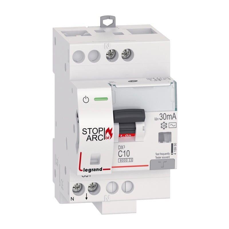 LEGRAND Disjoncteur différentiel DX³ STOP ARC 6000 - 1P+N 230V~ - 10A typeAC 30mA - courbe C - 3 modules
