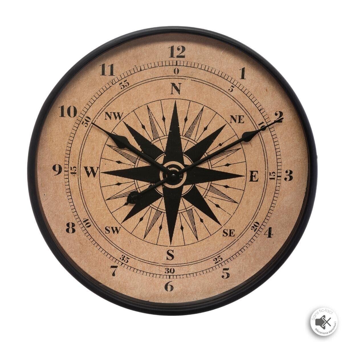 Atmosphera Horloge boussole, bois D38 cm