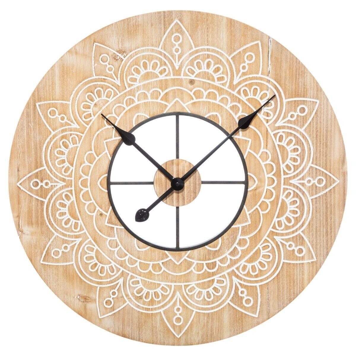 Atmosphera Horloge gravée en bois D60 cm
