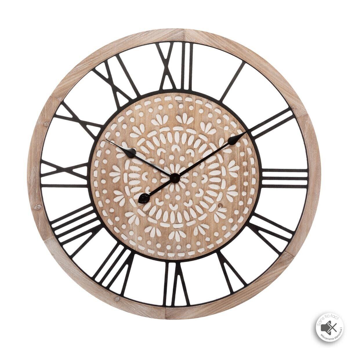 Atmosphera Horloge gravée en bois D67 cm