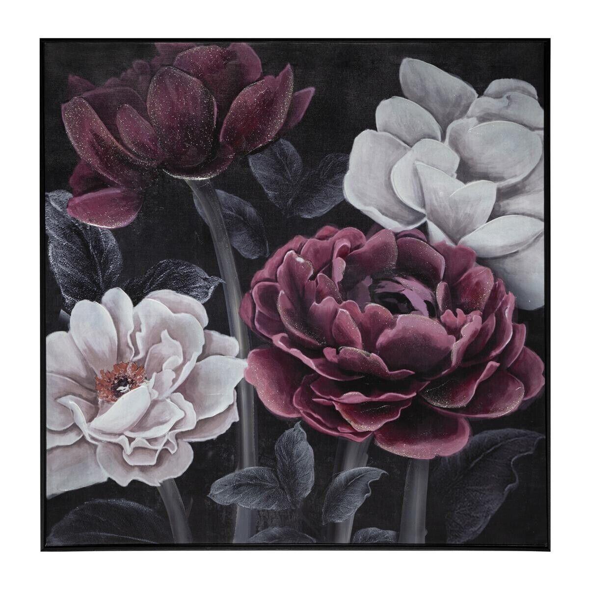 Atmosphera Toile peinte cadre Fleur Noire 58x58