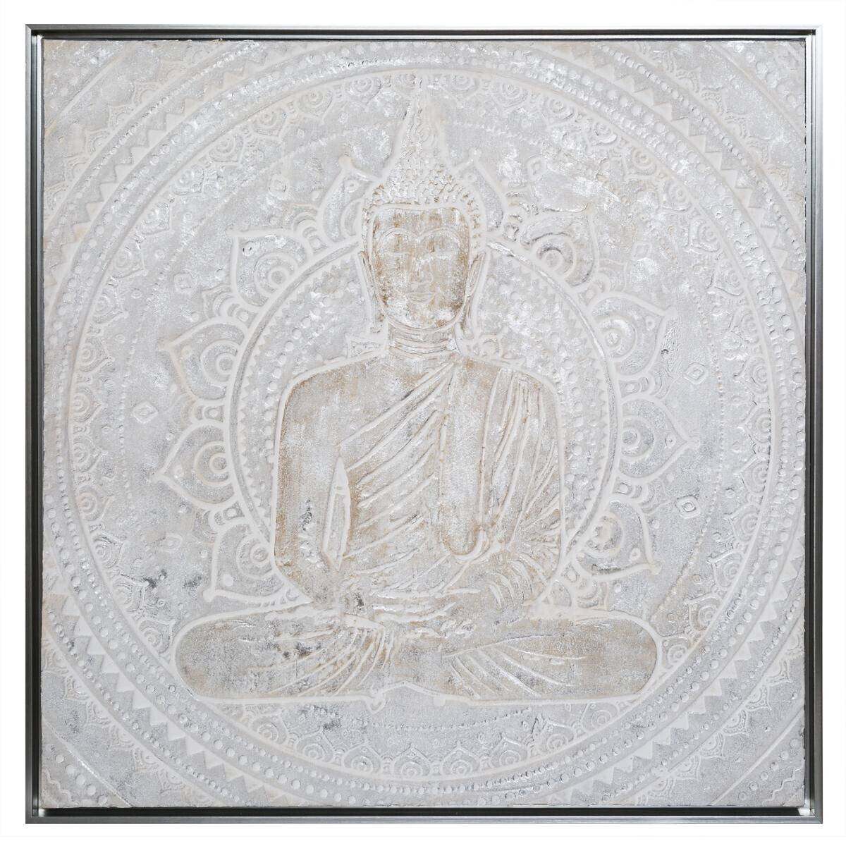 Atmosphera Toile peinte argentée encadrée Bouddha 78x78