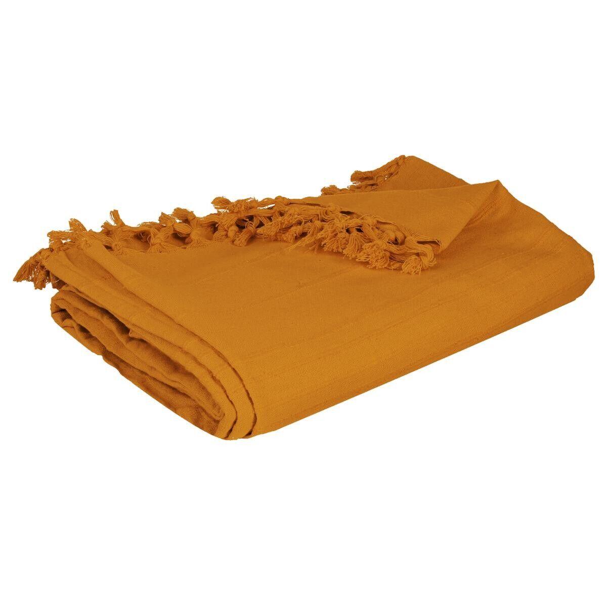 Atmosphera Jeté de lit en coton, jaune moutarde 160x220 cm DTE_2021 Unisexe