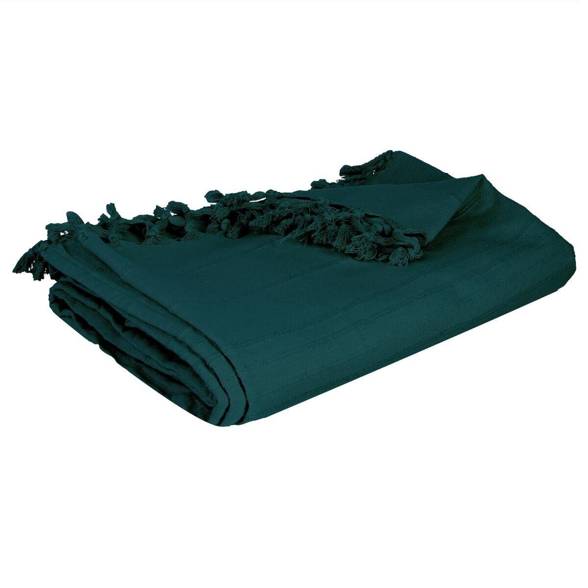 Atmosphera Jeté de lit en coton, bleu canard 160x220 cm DTE_2021 Unisexe