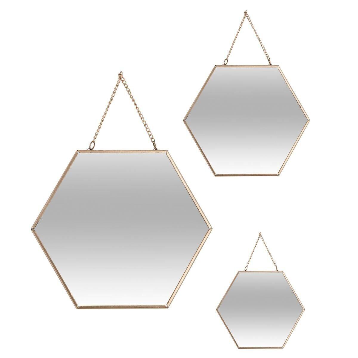 Atmosphera Set de 3 miroirs dorés