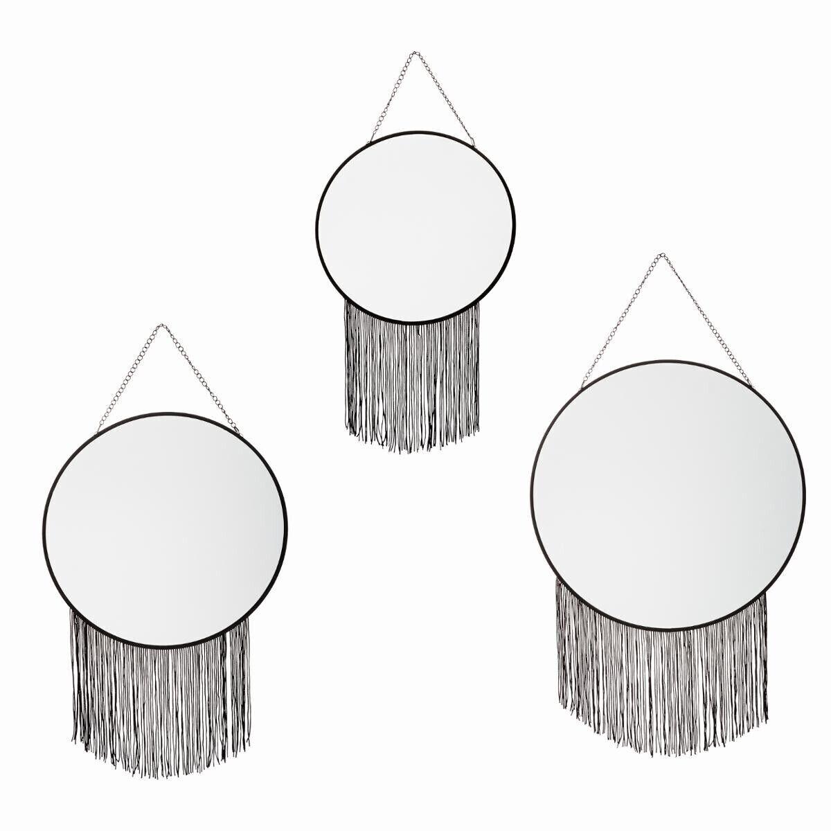Atmosphera Set de 3 miroirs ronds à franges