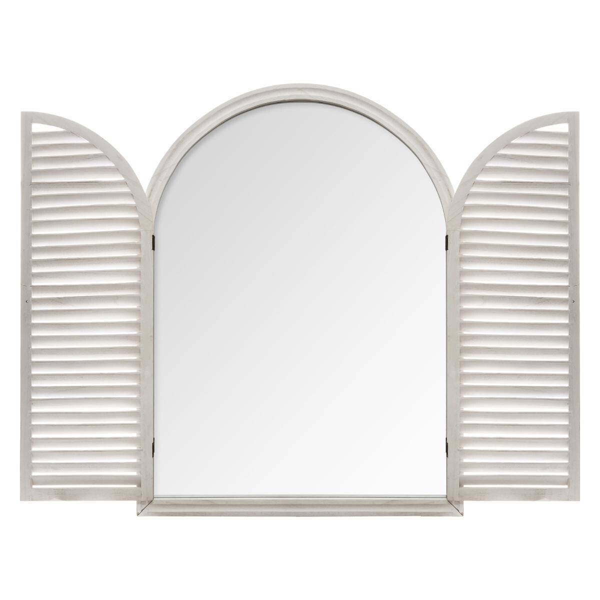 Atmosphera Miroir Blanc à volets en bois 74x104