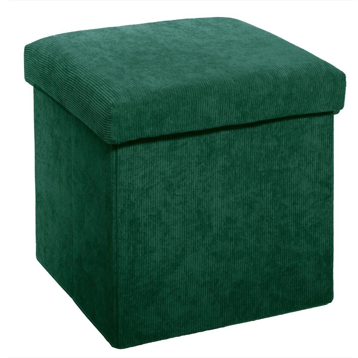 Atmosphera Pouf pliant vert en velours côtelé