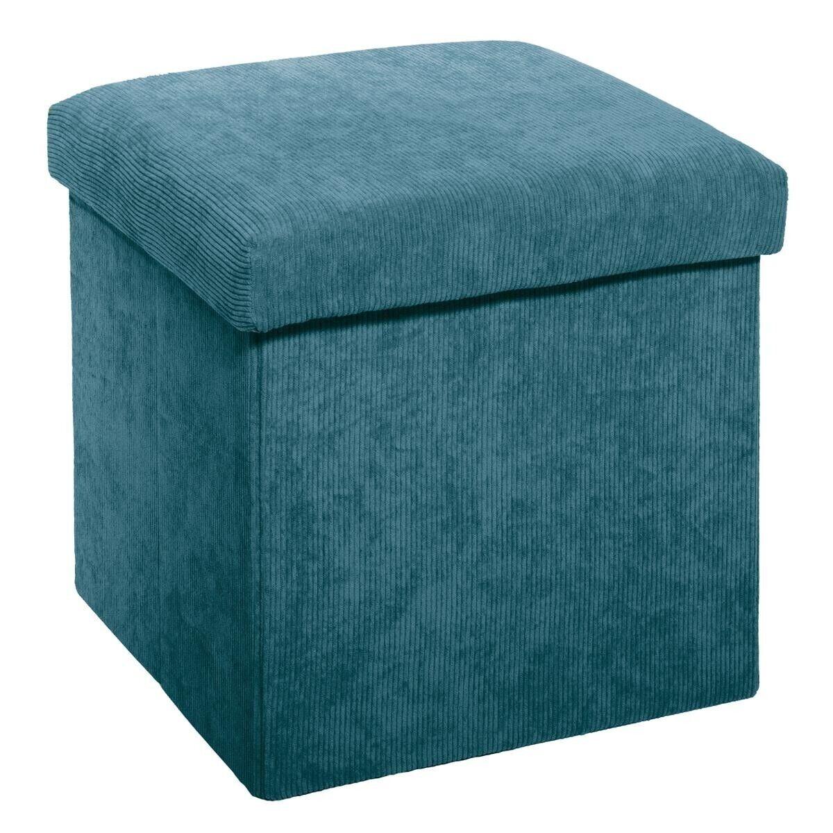 Atmosphera Pouf pliant bleu en velours côtelé
