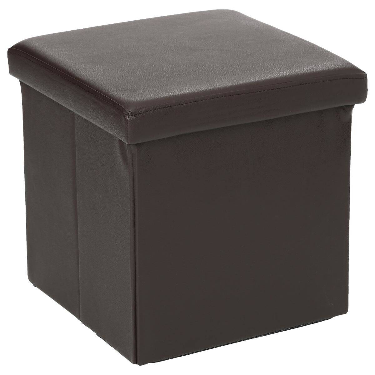 Atmosphera Pouf pliant carré Marron en PVC
