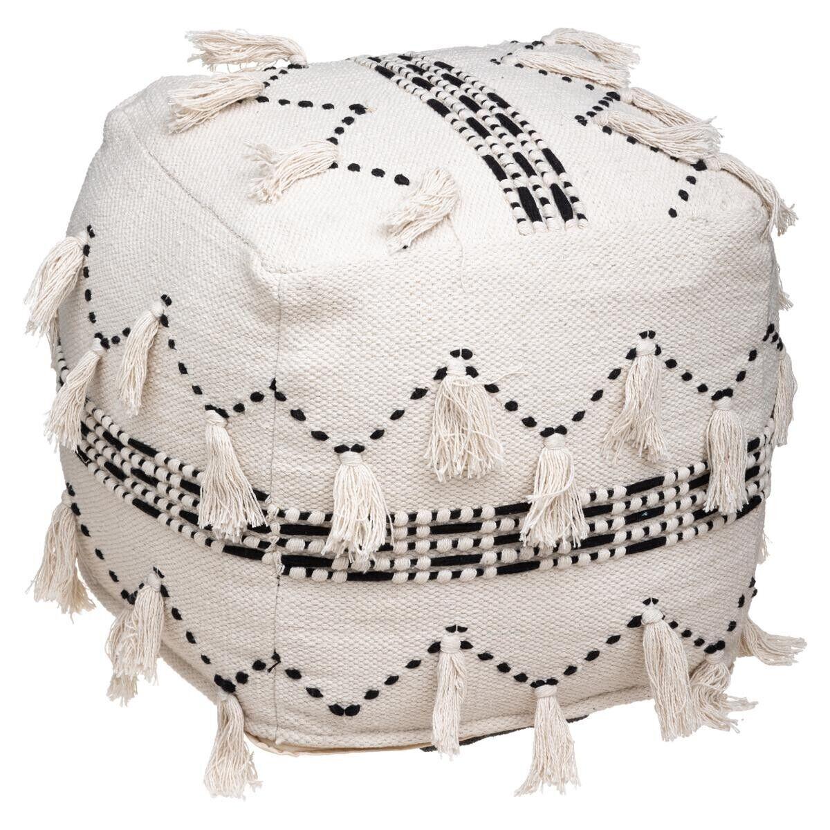 Atmosphera Pouf Blanc en tissu de coton