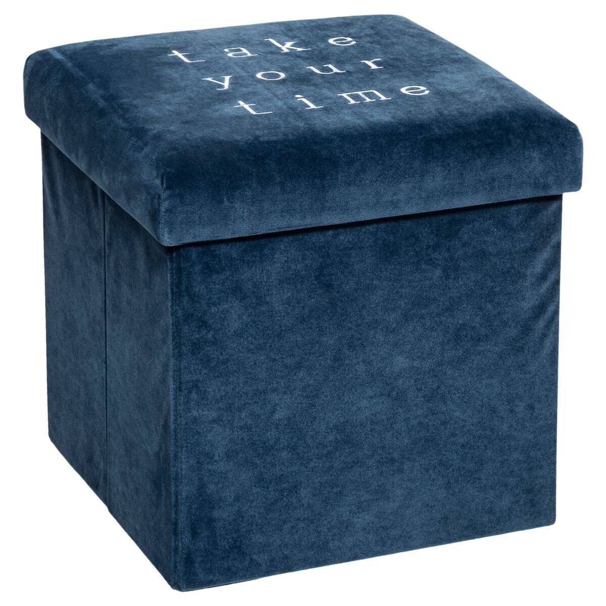 Atmosphera Pouf pliant citation Bleu en velours