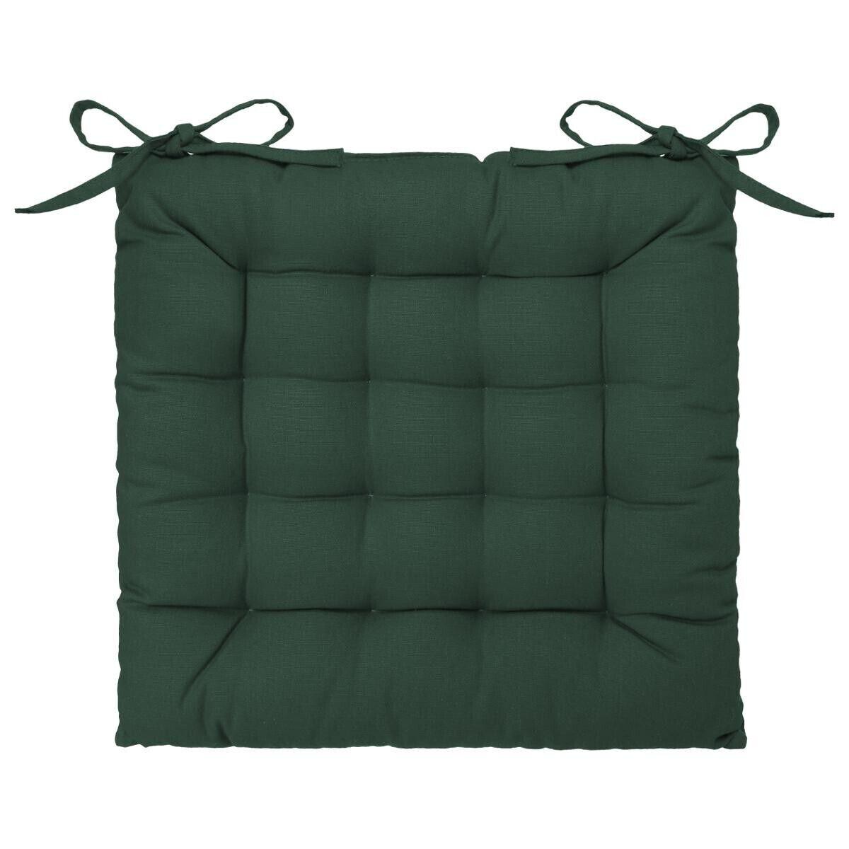 Atmosphera Galette de chaise en coton vert cèdre 38x38 cm old_refs-2021_DTE Unisexe