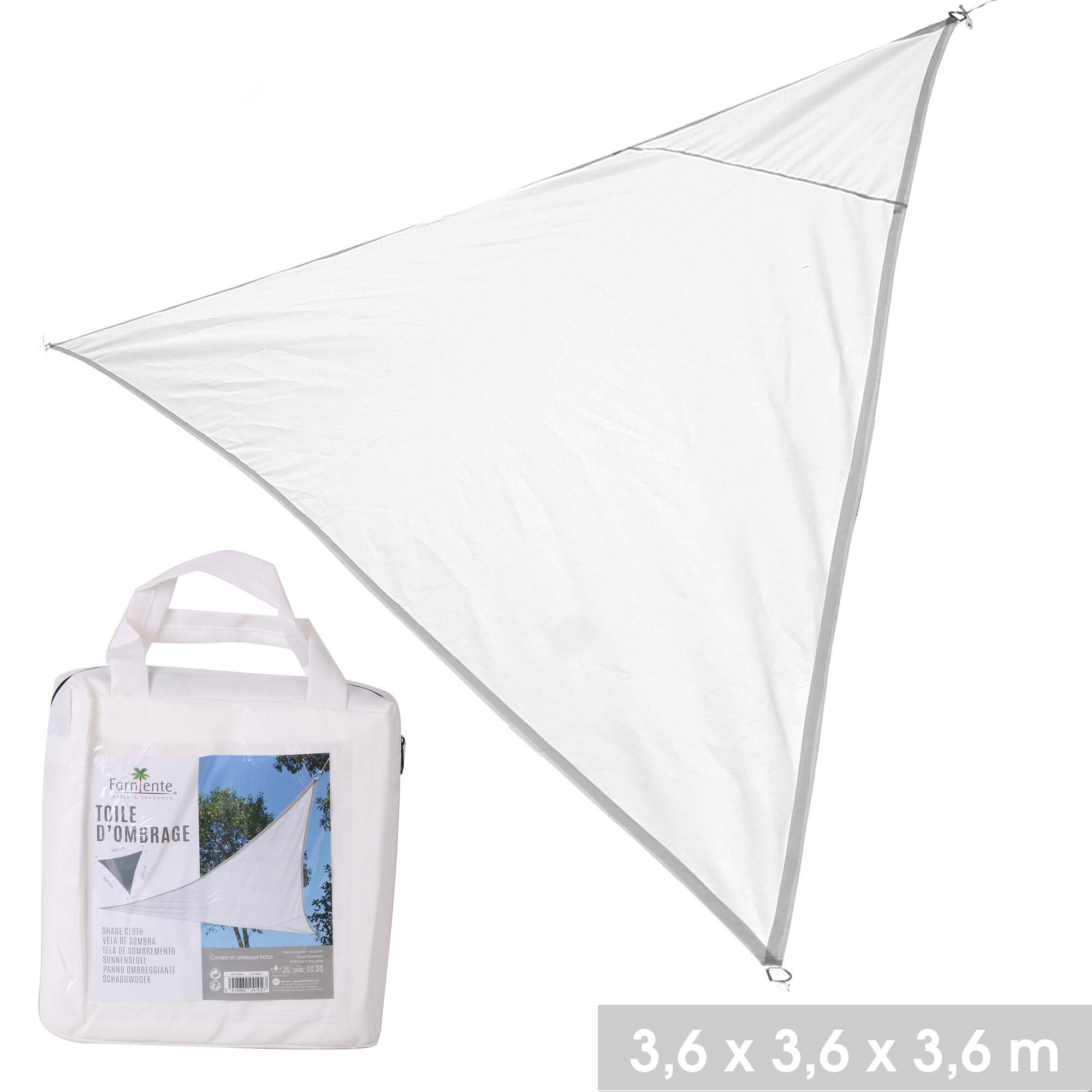 NOTRE SÉLECTION Toile d'ombrage triangle en polyester 3,6 x 3,6 x 3,6 m blanc