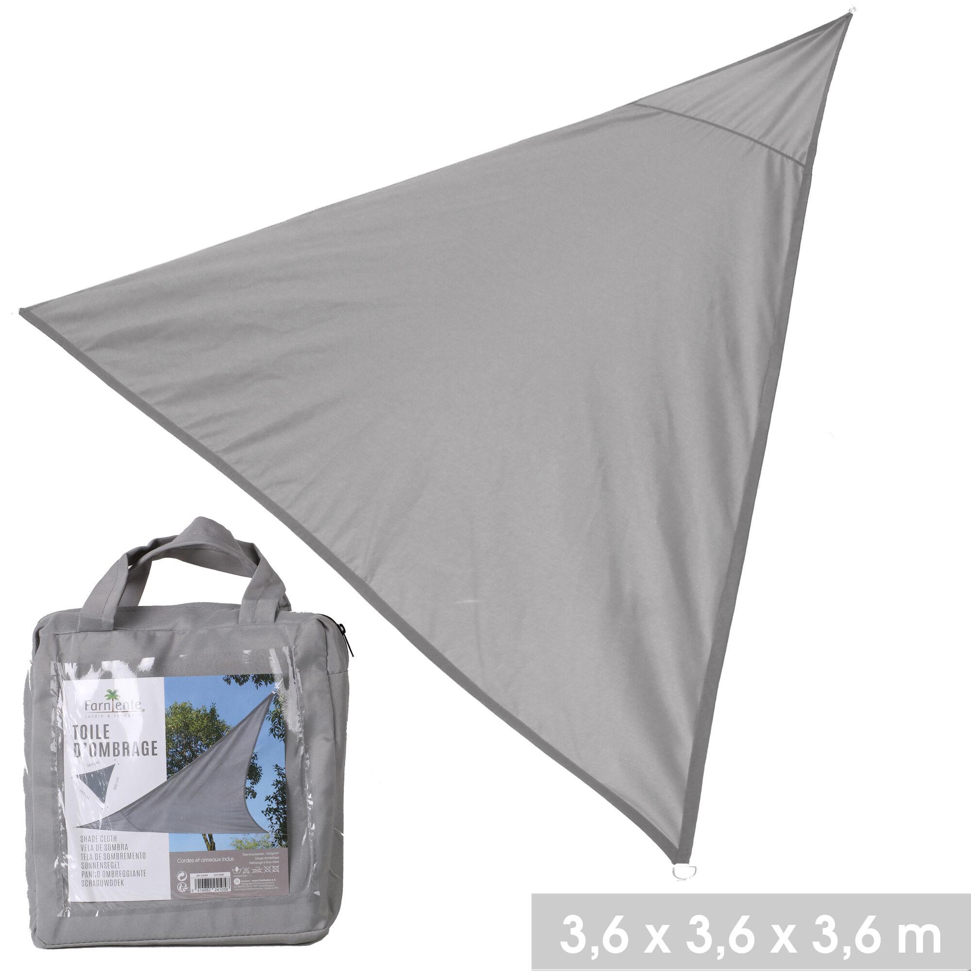 NOTRE SÉLECTION Toile d'ombrage triangle en polyester 3,6 x 3,6 x 3,6 m gris clair