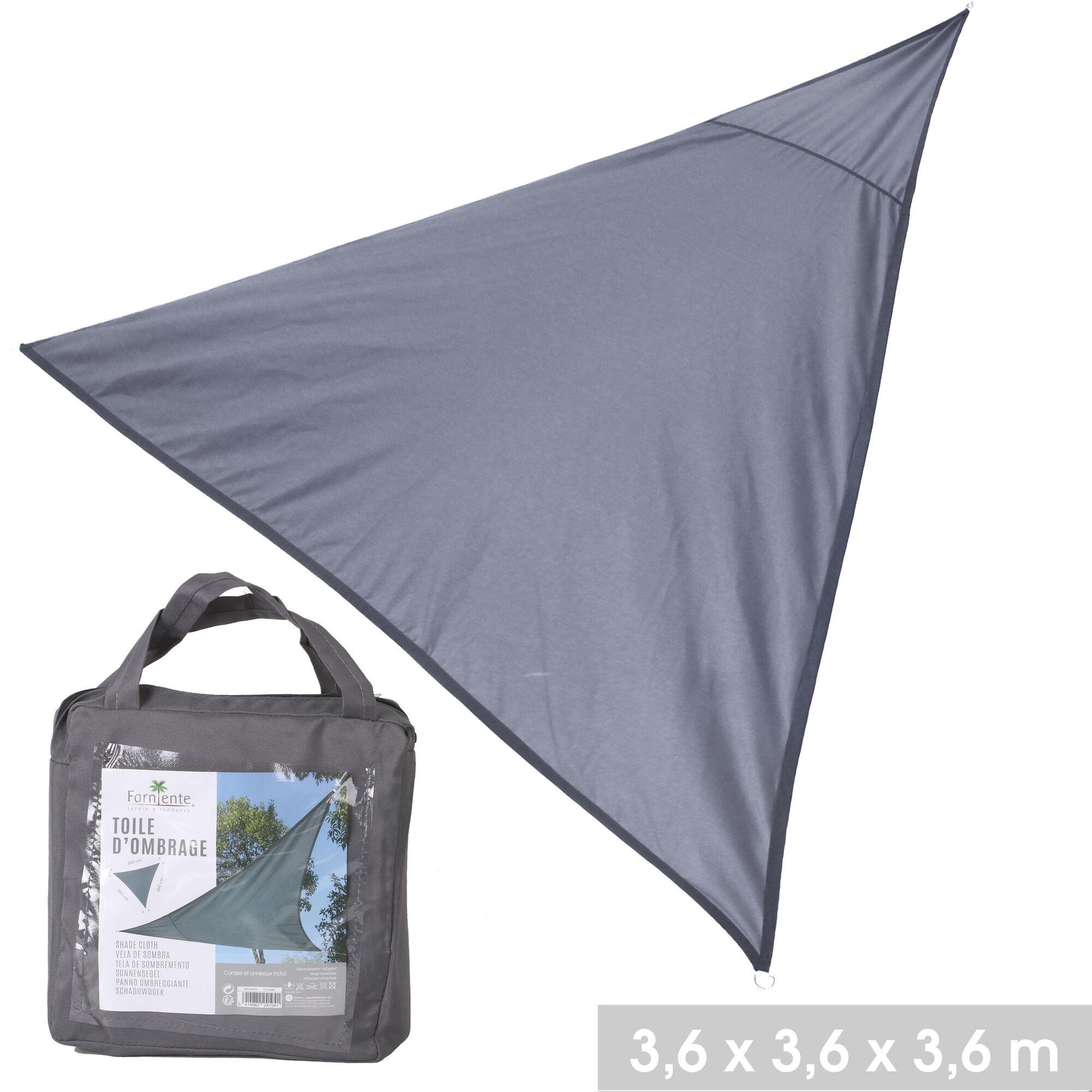 NOTRE SÉLECTION Toile d'ombrage triangle en polyester 3,6 x 3,6 x 3,6 m gris anthracite