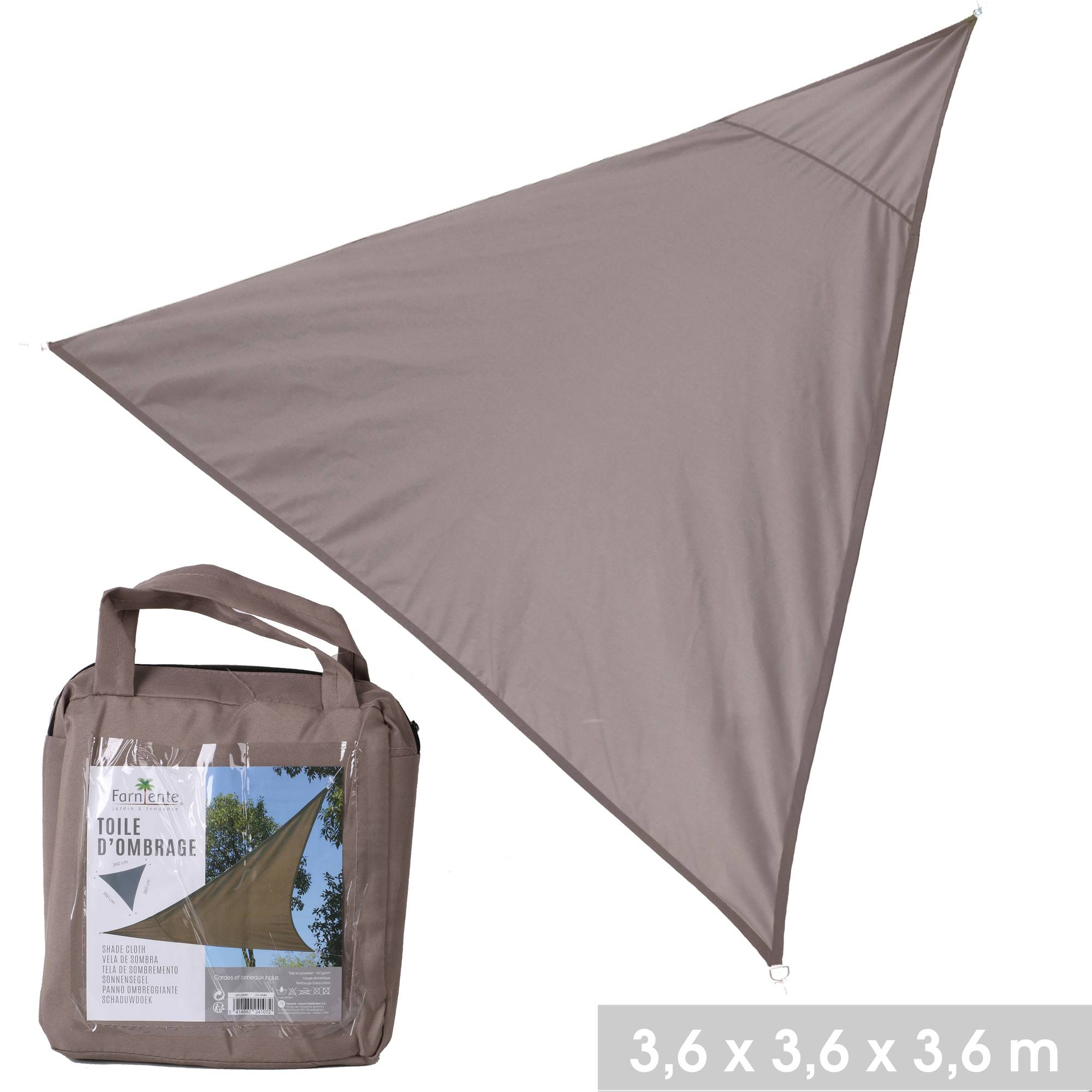 NOTRE SÉLECTION Toile d'ombrage triangle en polyester 3,6 x 3,6 x 3,6 m taupe