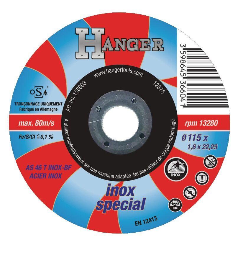 HANGER Disque à tronçonner droit pour inox 115 x 1,6 mm AS 46 T - HANGER - 150003