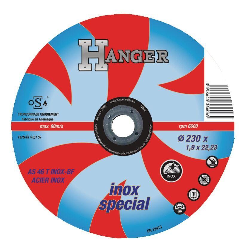 HANGER Disque à tronçonner droit pour inox 230 x 1,9 mm AS 46 T - HANGER - 150005
