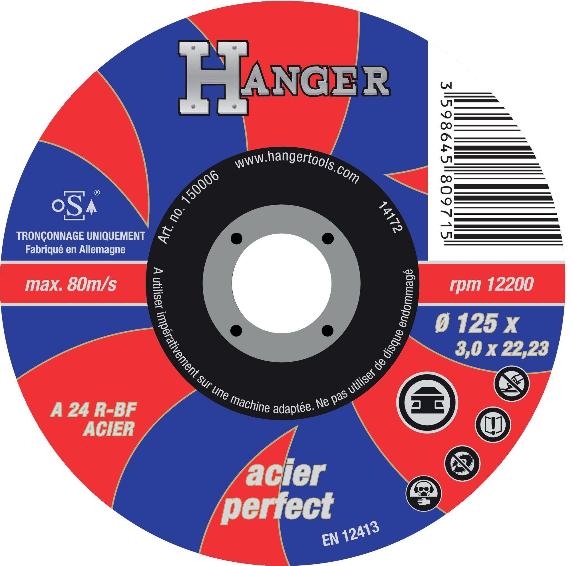 HANGER Disque à tronçonner droit pour métaux 125 x 3 mm AS 24 R - HANGER - 150006