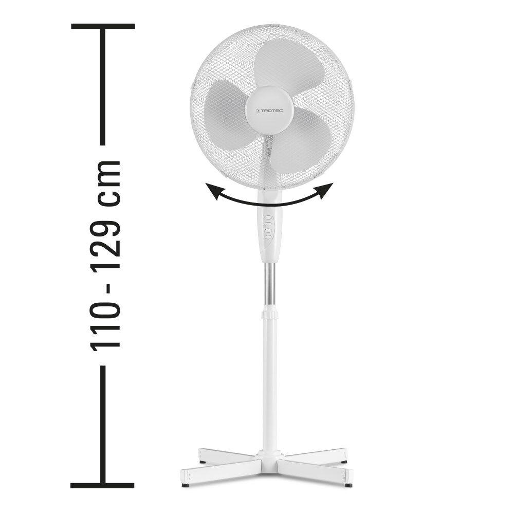 NOTRE SÉLECTION Ventilateur sur pied blanc hauteur réglable TVE 16 - 11/3050B