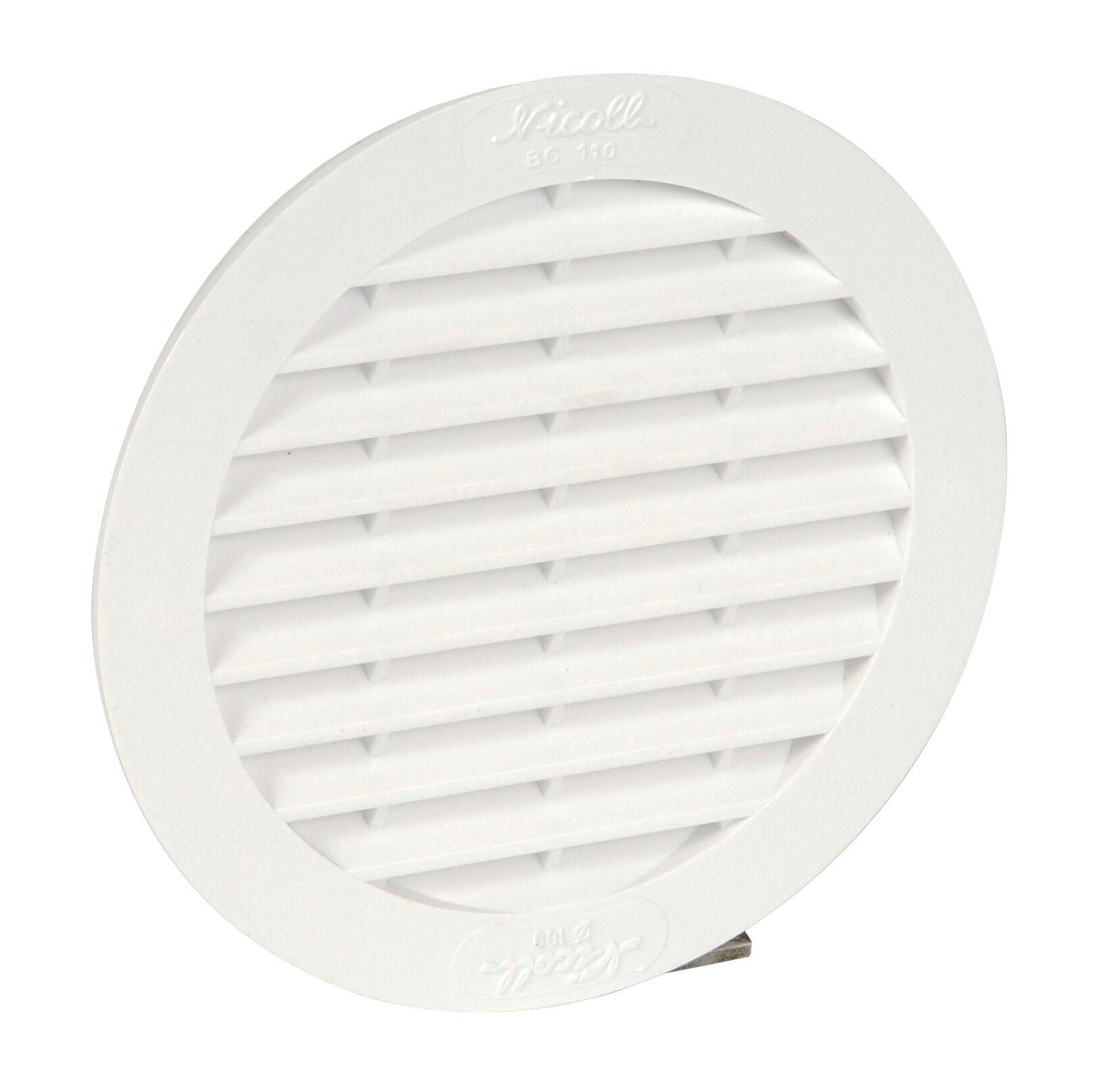 NICOLL Grille de ventilation en applique 32cm2 ronde pour tuyaux fibre ciment Ø100 blanc - NICOLL - 1BC110