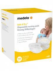 Medela Safe & Dry Coussinets d'Allaitement à Usage Unique 60 Coussinets - Boîte 60 coussinets