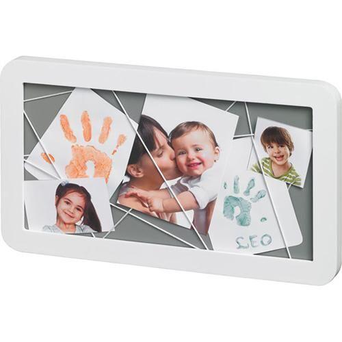 BART Pêle-mêle photos et empreintes Baby Art Blanc & Gris - Cadre ou miroir enfant