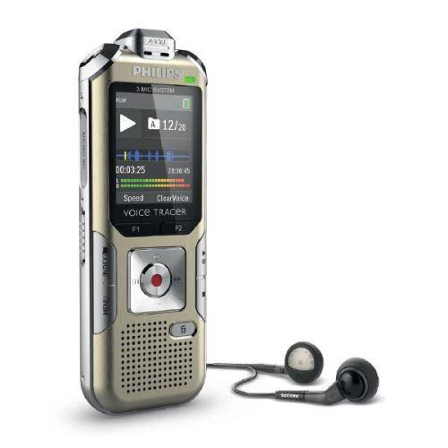 PHLI Dictaphone numérique Philips Voice Tracer DVT6500, 4 Go, Port USB, entrée carte mémoire MicroSD, radio FM, zoom micro jusqu'à 15 mètres, télécommande sans fil - Dictaphone