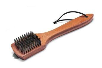 Weber Brosse de nettoyage weber - poignée bambou, 30 cm, poils acier inoxydable